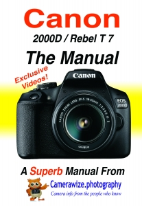 New Canon 2000D Rebel T7 front cover